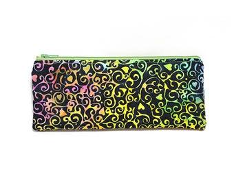 Cosmetic Case, Cord Case, Bridesmaid Gifts, All-Purpose Zipper Case, Black with Colorful Heart Vines Batik 9069