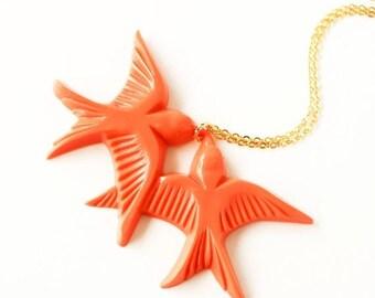HALF PRICE SALE Tangerine orange vintage plastic swallow love birds gold necklace