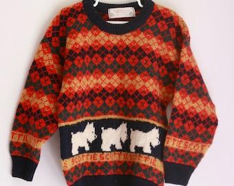 Vintage Scottish wool kids sweater with scottie dogs 5t