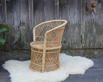 Child Size Wicker Peacock Chair