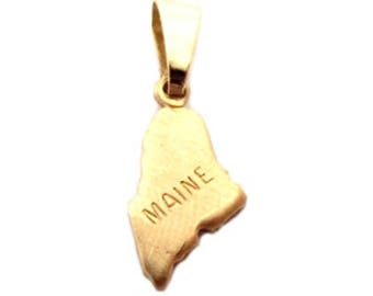 """Maine State Necklace.  Raw Brass.  18"""" Gold Chain. Tiny."""