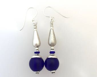 Cobalt Glass And Sterling Silver Earrings  (ft)