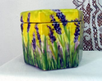 Mini Two Piece Ceramic African Violet Pot Self Watering Field of  Purple Lavender Motif, Six Sided Planter on Etsy