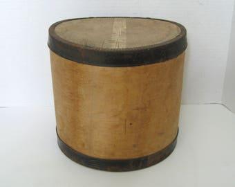 Vintage Round Wood Cheese Box Primitive With Rusty Metal Trim Farmhouse decor