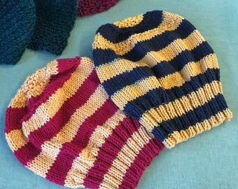 Slouchy Hat / Slouch/ beanie / Handknit Hat HPinspired Hufflepuff Gryffindor