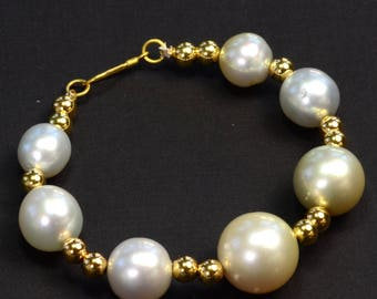 18k Solid Yellow Gold 10.5mm-15mm Cream White South Sea Pearl Bracelet