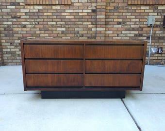 1973 mid century modern walnut plinth base dresser