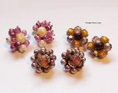 Weinlese-Cluster Ohrringe, Ohrclips, Vintage Ohrringe viel
