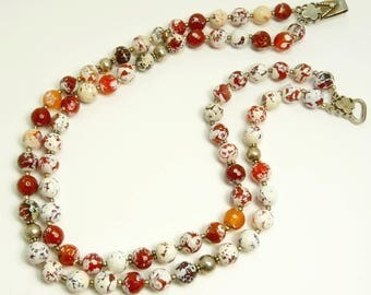 Ethic Tribal Necklace Fire Agate Bead Necklace Sterling 925 Double Strand