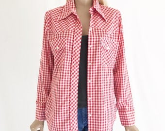 Vintage 70's Wrangler Gingham Checked Western Blouse Shirt. Size Small
