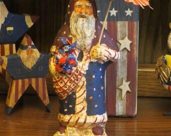 Paper mache Patriotic/Americana Santa w/Cape and Umbrella