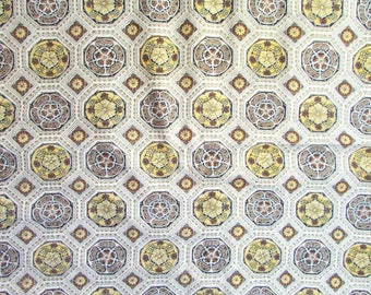 Vintage Fabric, Vintage 1950's Cotton Fabric, Mid Century Medallion, Wallpaper Design and Colors in Yellow, Brown, White