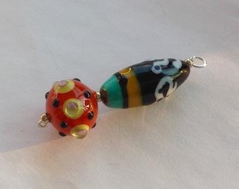 Lampwork Glass Focal Bead orange/black/white