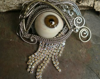 Gothic Steampunk Hazel Brown Prosthetic Eye Pendant with Rhinestones