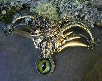 Gothic Steampunk Devil Wings and a Green Eye Necklace