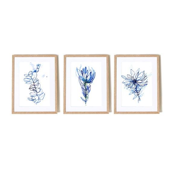 Blue Botanical Watercolour  Set of 3 Wall Art prints hand drawn illustration