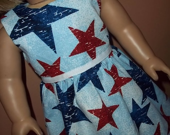 Red and Blue Star Dress / Doll Clothes fits American Girl doll or other 18 inch doll