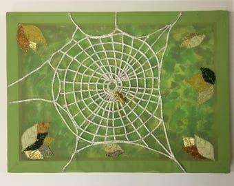 Spiderweb Fabric Collage