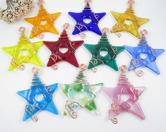 20 Fused Glass Star Suncatchers - Handmade Glass Star Ornaments Wrapped with Copper Wire - Pick Your Own Colors - Glass Star Ornament