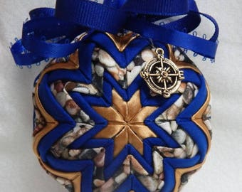Quilted Ornament w/ Compass Charm