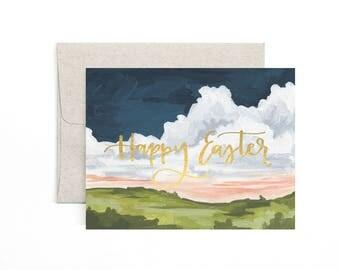 Happy Easter Landscape // Illustrated Card // 1canoe2