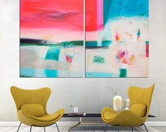 15% OFF Colorful modern painting Large wall art  blue coral red Original painting abstract art Canvas by VictoriAtelier diptych painting