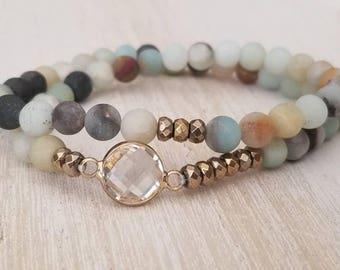 beaded wrap bracelet, amazonite bracelet, boho jewelry, gemstone bracelet, layering bracelet, mothers day gift mom gifts from daughter