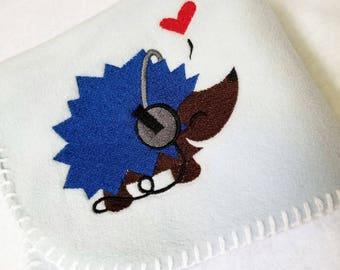 Little Rocker Hedgehog  Boy Shower Gift Blue Headphones Embroidery Fleece One of a Kind Crib Car Seat