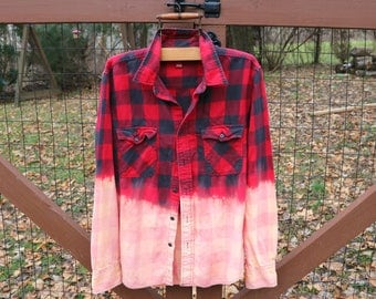 Distressed Flannel, Vintage Flannel, Upcycle Flannel, Grunge Flannel, Bleached Flannel, Vintage Shirt, Ombre Shirt, dip-dyed flannel