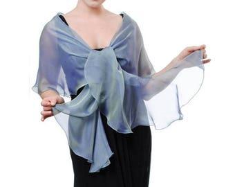 Promo Sale: Evening Aqua - Blue Silk Chiffon Scarf Shawl
