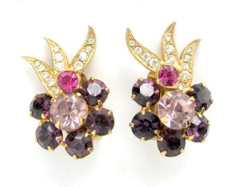 Vintage Eisenberg Ice Tri-Tone Pink and Purple Rhinestone Glamour Girl Earrings / Signed / Collectible Costume Jewelry / Gift for Her