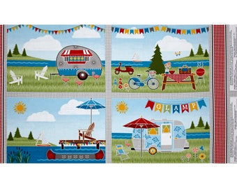 """New ~ Let's Go Glamping Placemat 24"""" Panel Multi ~ Anne Rowan for Wilmington Prints, Quilt Cotton"""