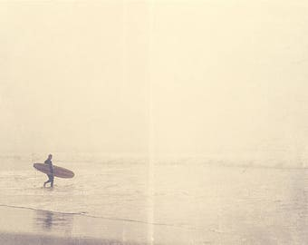 California photography, large beach decor, surfer photograph, Venice ocean foggy winter morning silver pale grey water seaside for him dads