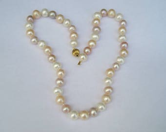 """Lovely 14K Gold Pink, Peach, White Genuine Pearl 18"""" Necklace"""