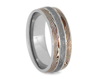 Gibeon Meteorite Wedding Band, Copper And Silver Mokume Gane Ring, Titanium Ring For Men or Women