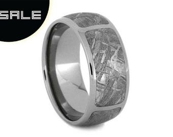 SALE - Gibeon Meteorite Wedding Band, Mens Titanium Ring, Meteor Ring, Custom Wedding Band For Him