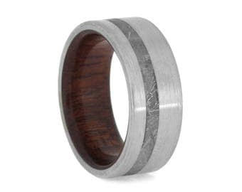 Men's Wood Wedding Band, Gibeon Meteorite Ring With Brushed Finish, Titanium Ring With Bloodwood Sleeve