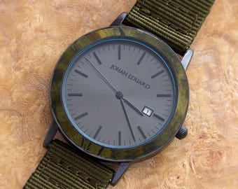Wood Watch With Army Green Nylon Strap, Matte Black Watch, Unisex Wooden Jewelry, Johan Eduard Watches