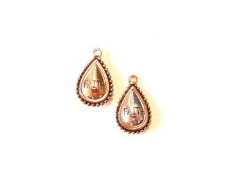 Small Pair of Two Tone Teardrop Charms with FAITH, Two-sided