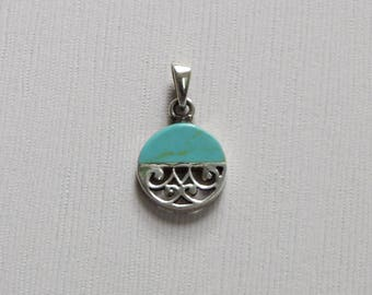 Sterling Silver Turquoise & Filigree round Pendant - T2 - P15