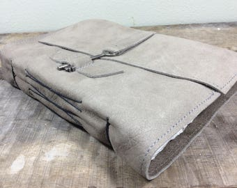 Pebbled Gray Leather Watercolor Book with Key