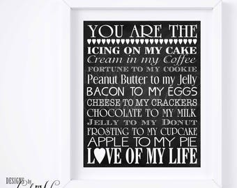 You Are The Bacon to my Eggs, Love of my Life, Subway Art Wall Printable, Gift for Boyfriend, Gift for Girlfriend Anniversary Gift Print PH2