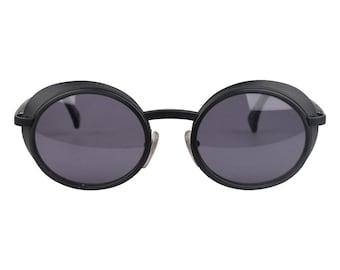 Authentic ALAIN MIKLI Paris Vintage Black Round Sunglasses 3124 Side Shields NOS