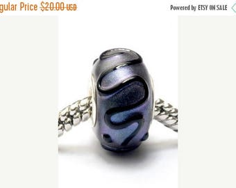 ON SALE 35% OFF Glass Lampwork Beads  - Large Hole Purple Pearl Surface w/Black Rondelle Bead - Sc10033