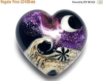 ON SALE 35% OFF Amethyst Jewel Celestial Heart (Large) - Handmade Glass Lampwork Bead 11832925