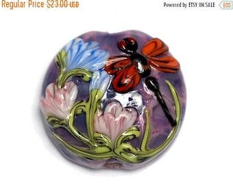 ON SALE 30% off Red Dragonfly/Violet Garden Lentil Focal Bead 11816702 - Handmade Glass Lampwork Bead