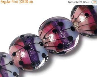 ON SALE 30% off Four Purple Rainbow Lentil Beads 10605012 - Handmade Glass Lampwork Bead Set