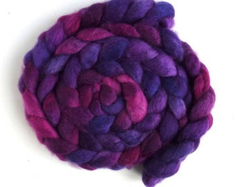 BFL Wool Roving - Hand Painted Spinning or Felting Fiber, Racing Violet