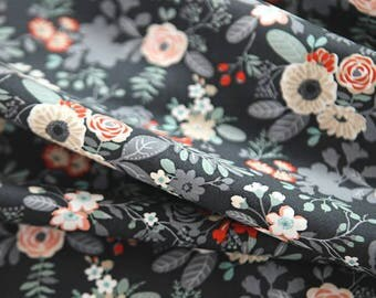 Vivid flowers fabric - Quilt Fabric, Cotton 1/2YD