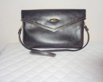 Vintage Etienne Aigner  clutch ,glam bag ,satchel purse handmade genuine thick leather black 70s pristine condition
